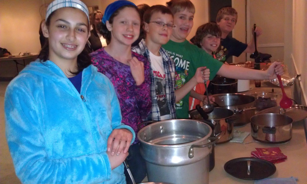 Youth Group Chef-Challenge, 2013. Soup was later served in local community house.